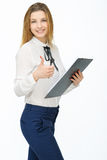 Young businesswoman with tablet. Business. Young businesswoman with tablet showing thumbs up Royalty Free Stock Photo