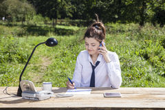 Young businesswoman taking notes while talking Stock Photo