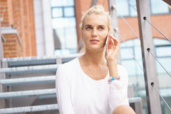 Young businesswoman talking on her phone Stock Images