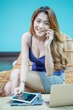 Young Businesswoman Talking On The Mobile Phone And Smiling Royalty Free Stock Photography