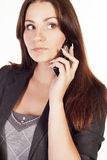 Young businesswoman talking on the phone stock image