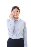 Young businesswoman telephone. The businesswoman who talks on the telephone Stock Photography