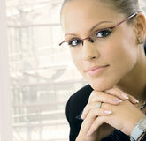 Young businesswoman thinking Stock Images