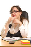 Young businesswoman with three glasses Royalty Free Stock Image
