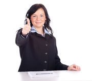 Young businesswoman thumb up Royalty Free Stock Photo