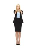 Young businesswoman with thumbs up. Bright picture of young businesswoman with thumbs up Stock Image