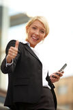 Young Businesswoman Thumbs Up Royalty Free Stock Photos