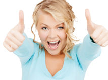 Young businesswoman with thumbs up Royalty Free Stock Photography