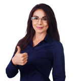 Young businesswoman thumbs up Stock Photography