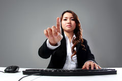 Young businesswoman touch the virtual screen concept Stock Image