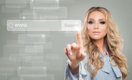 Young Businesswoman Touching Virtual Web Browser Address Bar. Or Search Bar with Loupe Sign Stock Photos