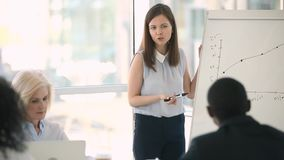 Young businesswoman trainer gives flipchart presentation at corporate meeting seminar