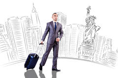 The young businesswoman on travel to new york Stock Images