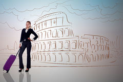 The young businesswoman on travel to roma Stock Photo