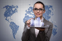 The young businesswoman in urban planning concept Stock Photos