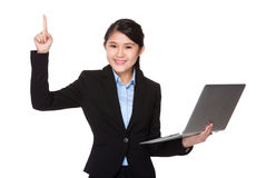 Young businesswoman use of laptop computer and thumb up Royalty Free Stock Photography