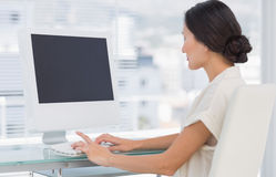 Young businesswoman using computer in office Stock Images