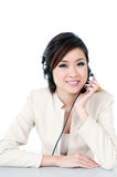 Young Businesswoman Using Headset Royalty Free Stock Image