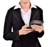 Young businesswoman using tabs Stock Photo