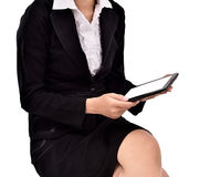 Young businesswoman using tabs Royalty Free Stock Photography