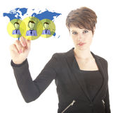 Young businesswoman with virtual worldwide friends isolated Stock Photos