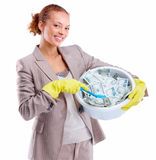 Young businesswoman washing money Stock Photo