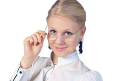 Young businesswoman wearing glasses Royalty Free Stock Image