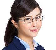 Young businesswoman wearing glasses. Isolated on white background Stock Photos