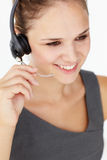 Young businesswoman wearing headset Stock Photos