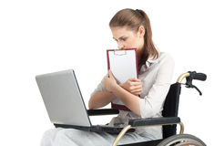 Young businesswoman on the wheelchair Stock Photos