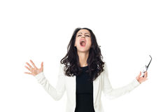 Young businesswoman on white background. Angry businesswoman isolated on a white background Stock Photo