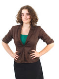 Young businesswoman on white background hands on hips Royalty Free Stock Photography