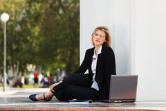 Young businesswoman working on laptop Stock Photos