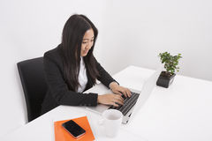 Young businesswoman working on laptop at office desk Royalty Free Stock Photography