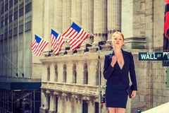 Young businesswoman working in New York Royalty Free Stock Images