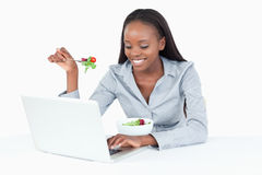 Young businesswoman working with a notebook Royalty Free Stock Photos