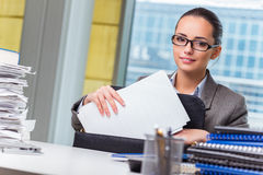 The young businesswoman working in the office. Young businesswoman working in the office Stock Image