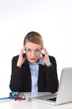 Young businesswoman working in stress at office computer frustrated Stock Photography