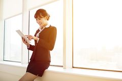 Young   businesswoman working with tablet Stock Image