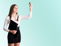 Young Businesswoman writing with a highlighter Stock Photography