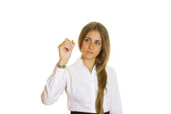 Young businesswoman writing with pen Royalty Free Stock Image