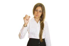 Young businesswoman writing with pen Royalty Free Stock Photography