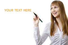 Young businesswoman writing word on a copy space Royalty Free Stock Images