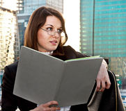 Young businesswomen with diary in her hands Royalty Free Stock Photo