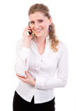 Young businesswomen  on mobile phone. Isolated on white background Royalty Free Stock Image