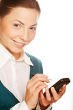 Young businesswomen with PDA Royalty Free Stock Image