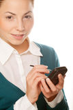 Young businesswomen with PDA Stock Images