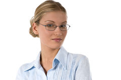 Young busineswoman. Portrait of a young successful businesswoman, isolated in white Royalty Free Stock Image
