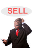 Young bussiness man thinking about more sales. Isolated on white background royalty free stock photo