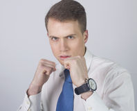 Businessman fight for his Job Royalty Free Stock Images